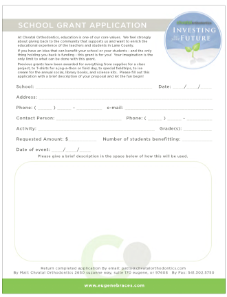 Chvatal Orthodontics Grant Application